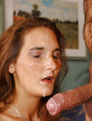 Old lady facial cum